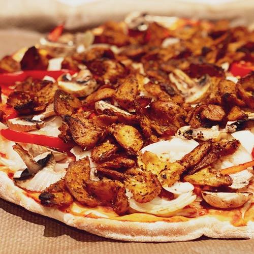 vegansk pizzatopping - soja kebab