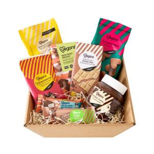 vegansk gavekurv med veganske snacks og lækkerier