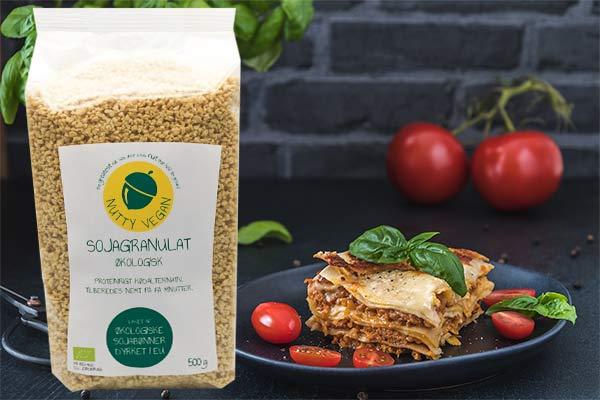 vegansk lasagne opskrift med sojagranulat