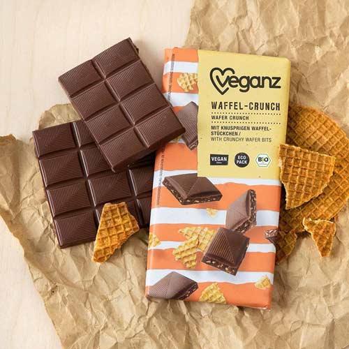 vegansk chokolade med crunch - veganz waffle chokolade