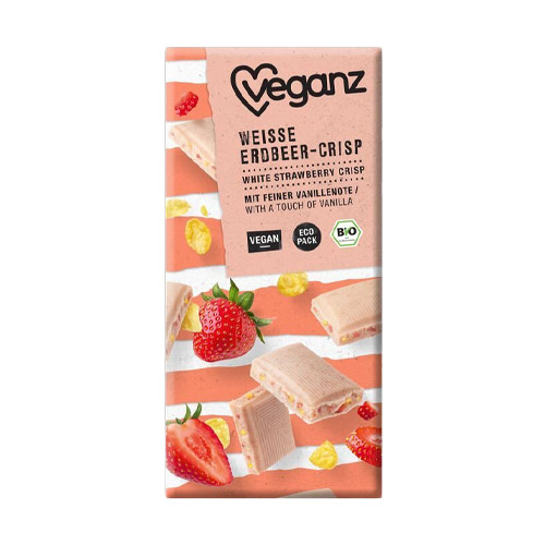 vegansk hvid chokolade med jordbær veganz