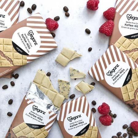 vegansk hvid chokolade med kaffe nibs Veganz