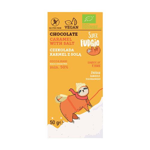 super fudgio vegansk chokolade med karamel og salt