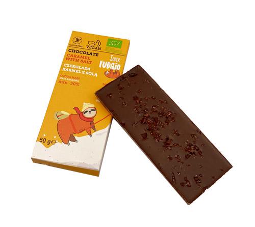 vegansk chokolade med karamel og salt - super fudgio slik