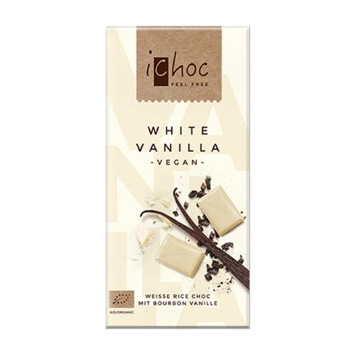 ichoc chokolade køb - ichoc vegan white vanilla - hvid vegansk chokolade