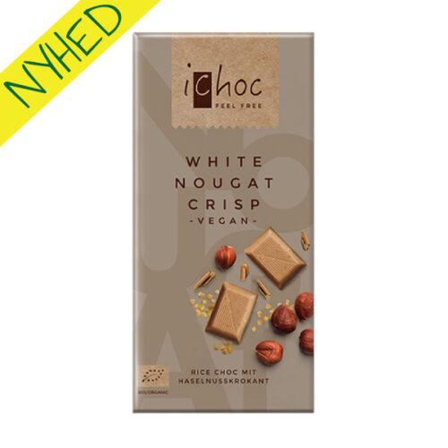 ichoc chokolade køb - ichoc vegansk hvid chokolade white nougat crisp