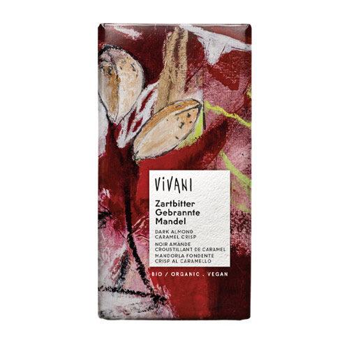 mørk vegansk chokolade med mandler