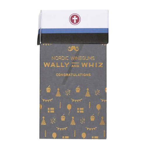 wally and whiz gaveæske med blå studenterhue - gave til vegansk student