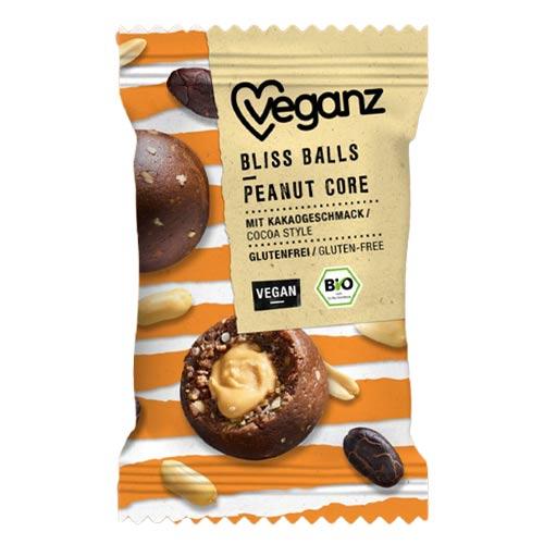 veganske snacks - veganz bliss balls peanut core