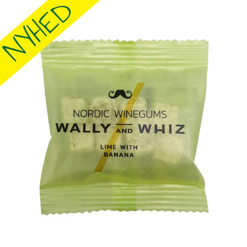 vegansk vingummi - wally and whiz lime banan flowpack